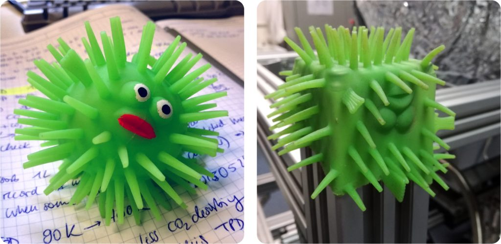 PhD frustration: Green stress toy fish before and after 6 months