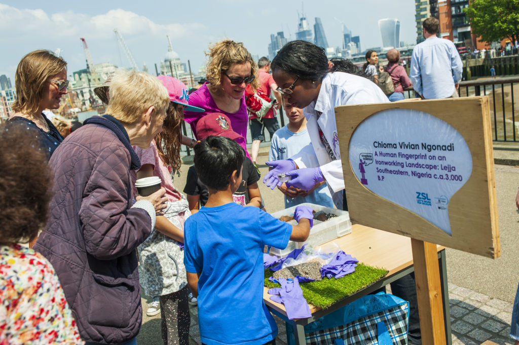 Chioma Vivian Ngonadi at Soapbox Science event in London, showcasing female research