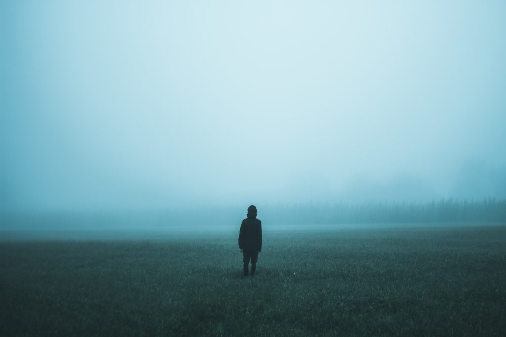 Taking time out of your PhD: Person alone in a foggy meadow