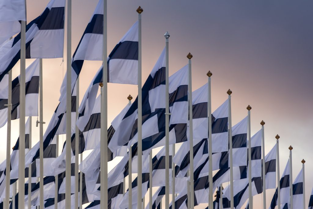 Finnish flags in the wind